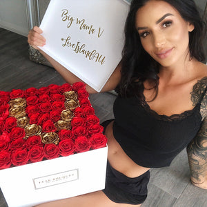 Grand Everlasting Letter Box - Red & Gold - Luxe Bouquet roses that last a year
