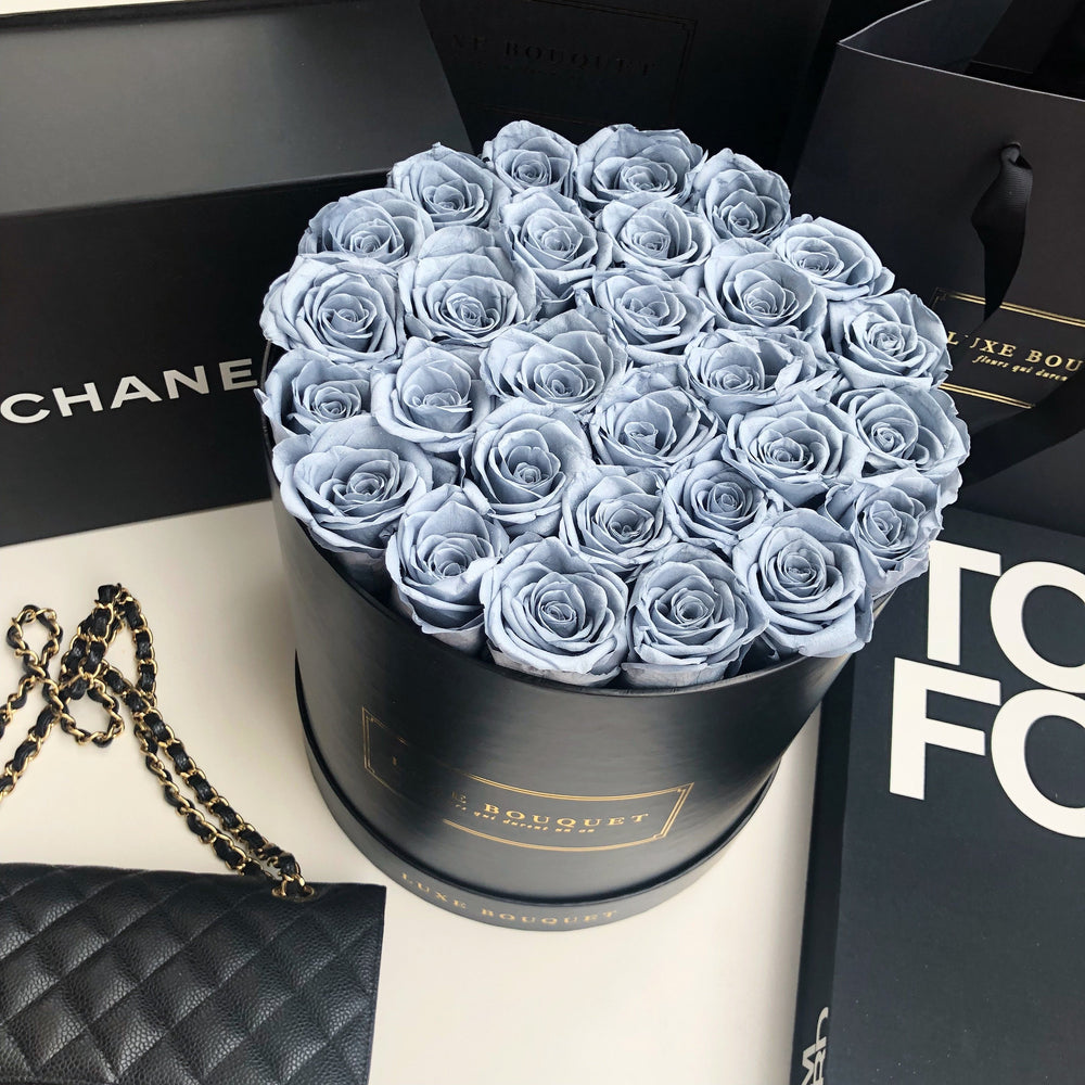 Grand Luxe Bouquet Box - Dusty Blue - Luxe Bouquet roses that last a year