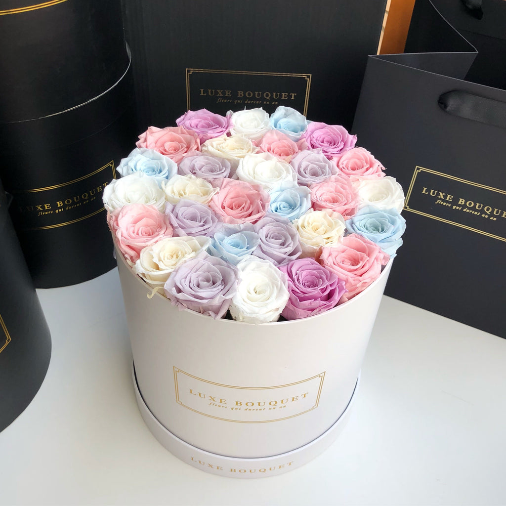 Grand Luxe Bouquet box - Pastel Mix - Luxe Bouquet roses that last a year