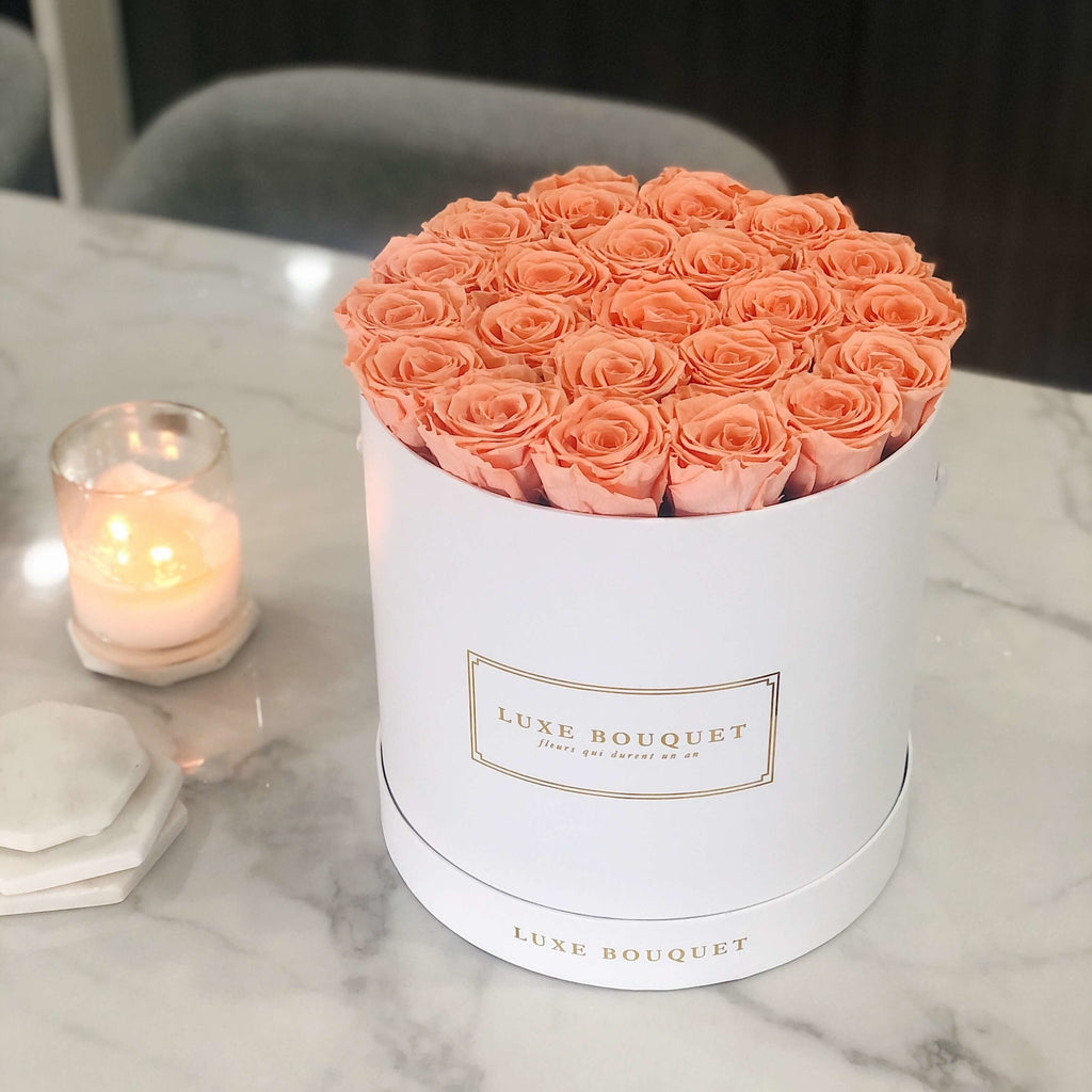 Grand Luxe Bouquet Box - Peach - Luxe Bouquet roses that last a year
