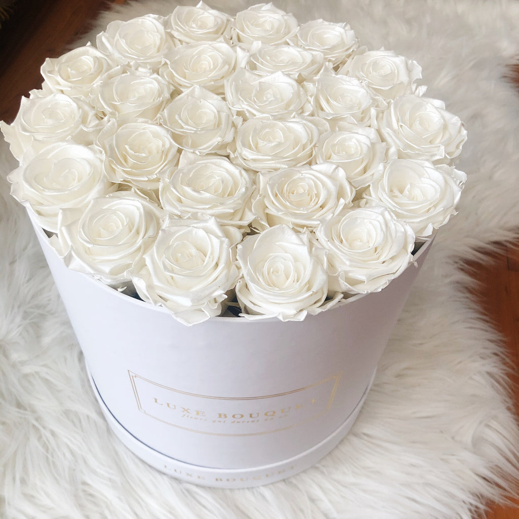 Grand Luxe Bouquet Box - Pearl White - Luxe Bouquet roses that last a year