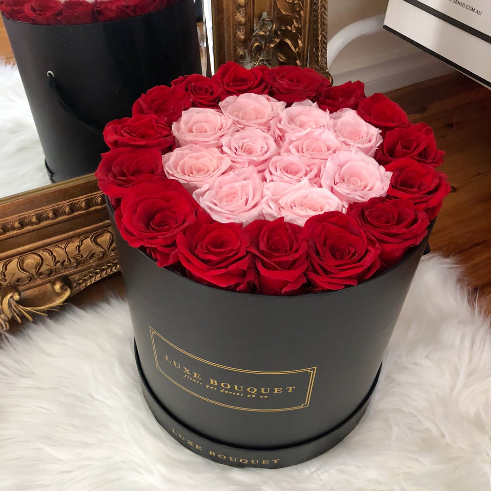 Grand Luxe Bouquet Box - Pink and Red - Luxe Bouquet roses that last a year