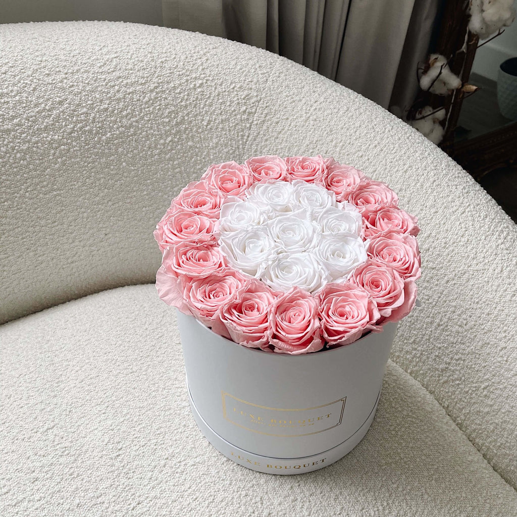 Grand Luxe Bouquet Box - Pink & White - Luxe Bouquet roses that last a year