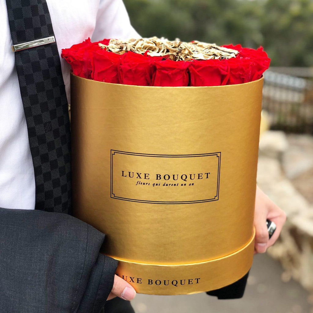 Grand Luxe Bouquet Box - Red & Gold - Luxe Bouquet roses that last a year