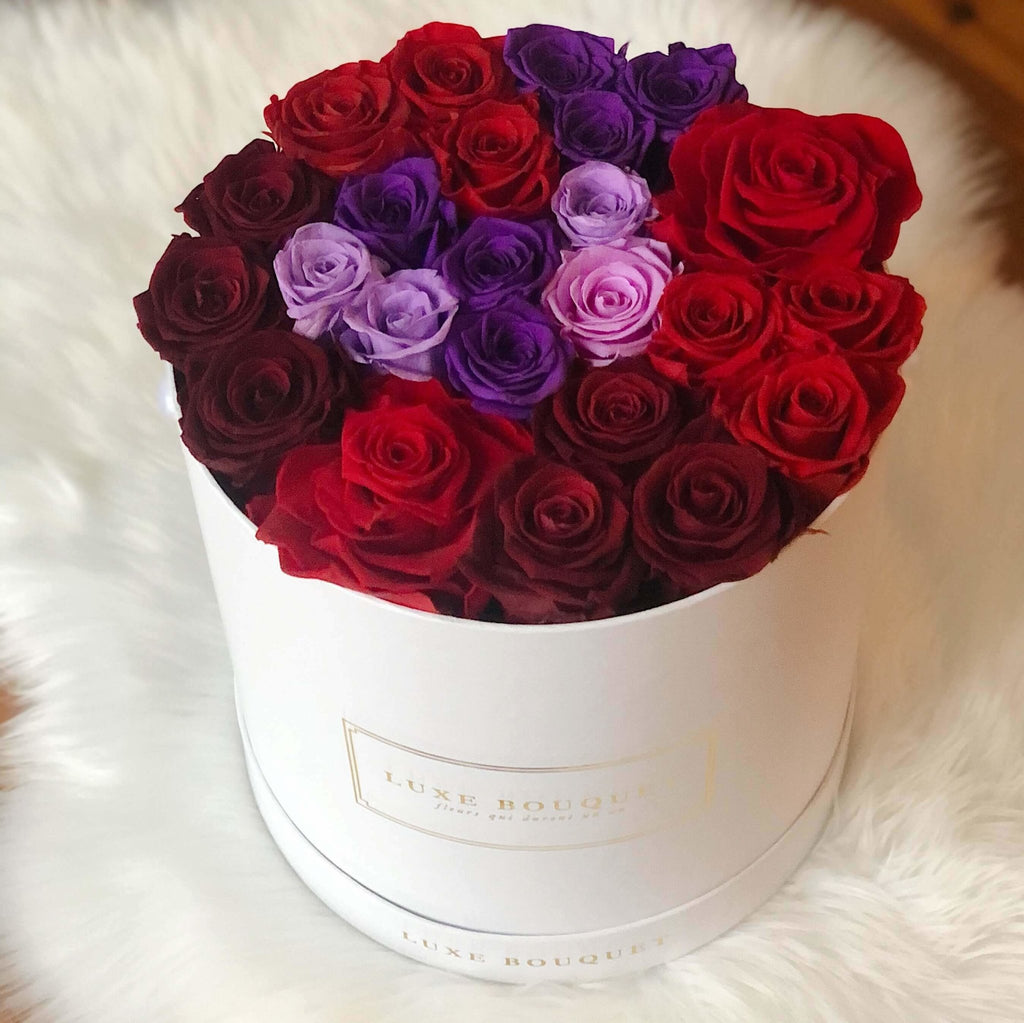 Grand Luxe Bouquet Box - Red & Purple - Luxe Bouquet roses that last a year