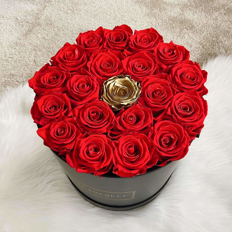 Grand Luxe Bouquet Box - Red with Single Gold - Luxe Bouquet roses that last a year