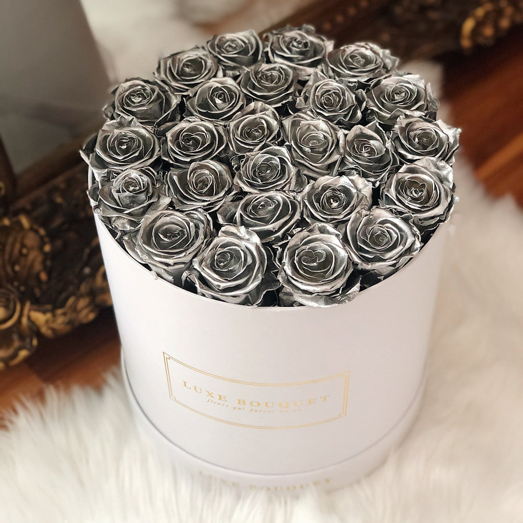 Grand Luxe Bouquet Box - Silver - Luxe Bouquet roses that last a year