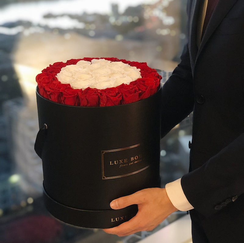 Grand Luxe Bouquet Box - White and Red - Luxe Bouquet roses that last a year