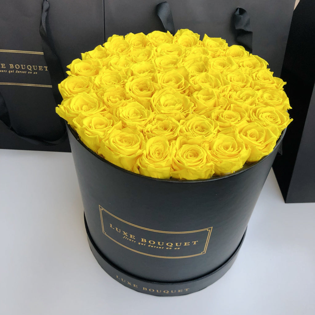 Grand Luxe Bouquet Box - Yellow - Luxe Bouquet roses that last a year