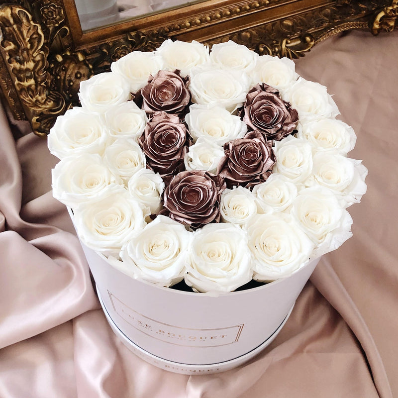Grand Luxe Bouquet Metallic Letter Box - Luxe Bouquet roses that last a year