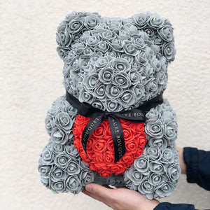 Grey Heart Luxe Rose Bear - 40 cm - Luxe Bouquet roses that last a year