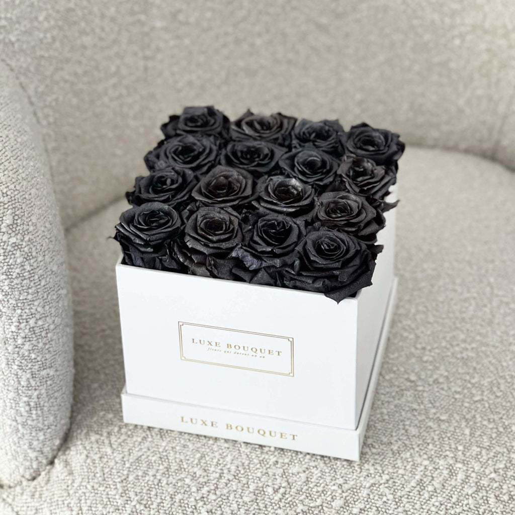 Medium Everlasting Square Box - Black Shimmer - Luxe Bouquet roses that last a year