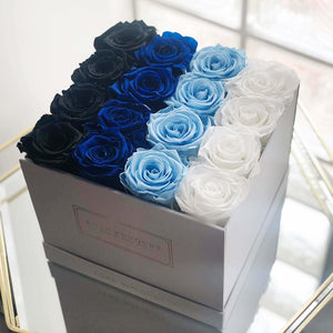 Medium Everlasting Square Box - Blue Ombré - Luxe Bouquet roses that last a year