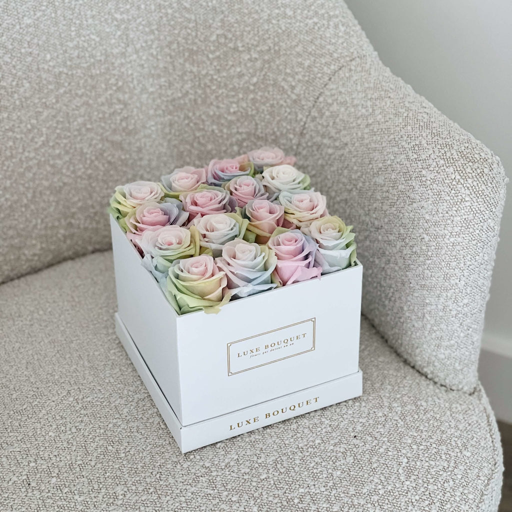 Medium Everlasting Square Box - Pastel Unicorn - Luxe Bouquet roses that last a year