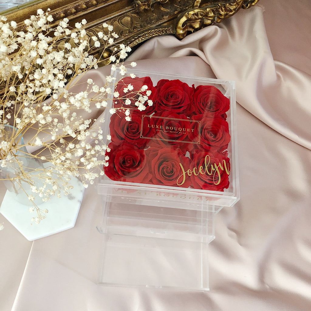 Petite Acryl Storage Box - Luxe Bouquet roses that last a year