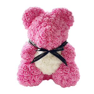 Pink Heart Luxe Rose Bear - 40cm - Luxe Bouquet roses that last a year