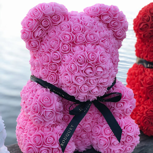 Pink Luxe Rose Bear - 40 cm - Luxe Bouquet roses that last a year