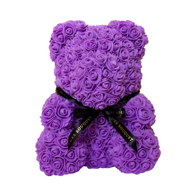 Purple Luxe Rose Bear - 40 cm - Luxe Bouquet roses that last a year