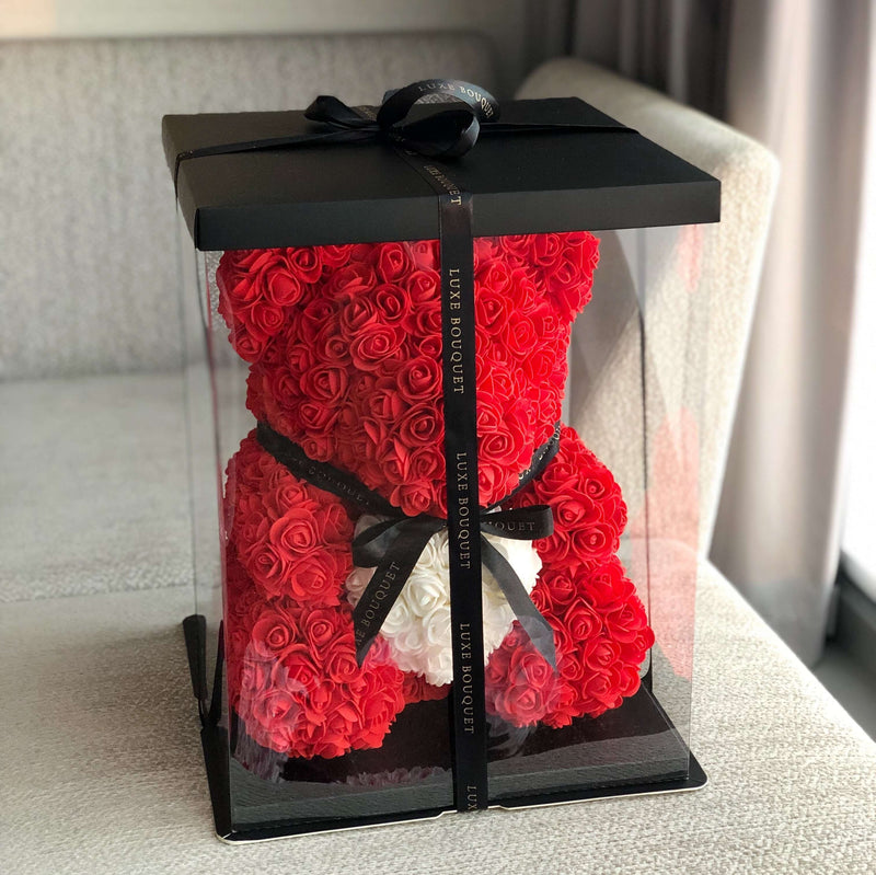 Red Heart Rose Bear In Gift Box Australia