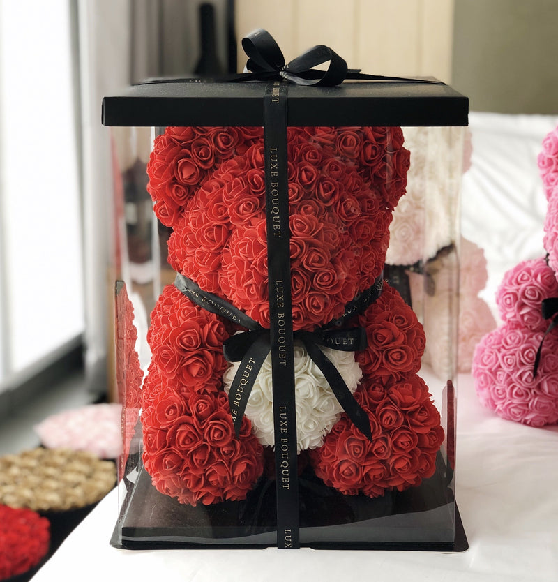 Red Heart Luxe Rose Bear - 40 cm - Luxe Bouquet roses that last a year