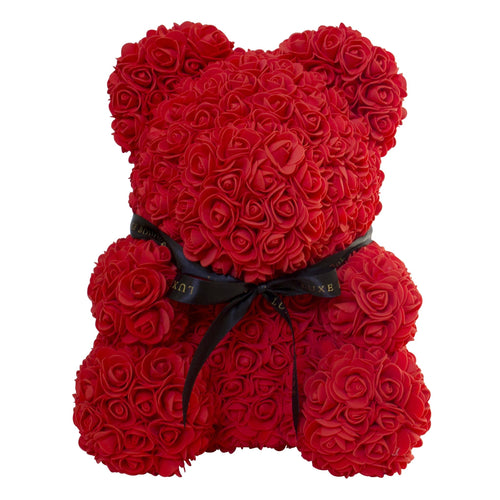 Red Luxe Rose Bear - 40 cm - Luxe Bouquet roses that last a year