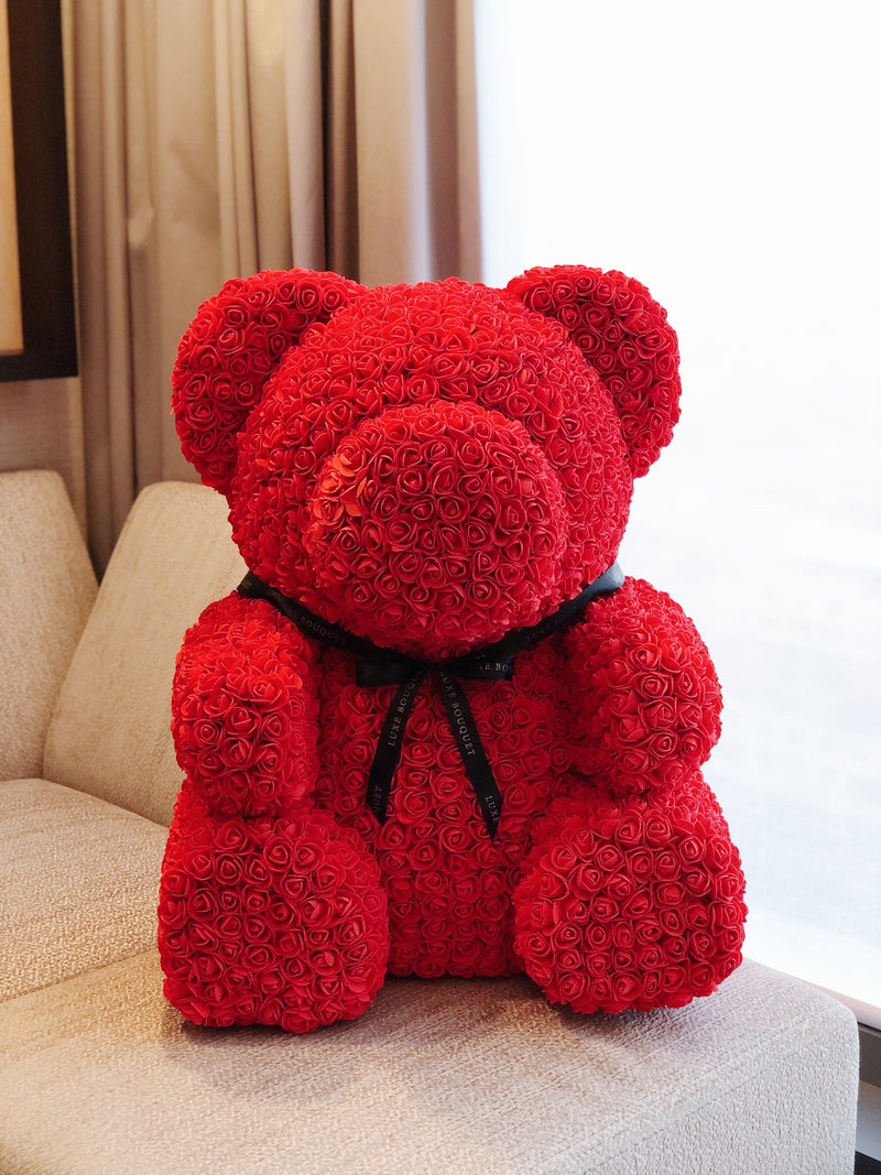 Red Luxe Rose Bear - 70 cm (Sydney Only) - Luxe Bouquet roses that last a year