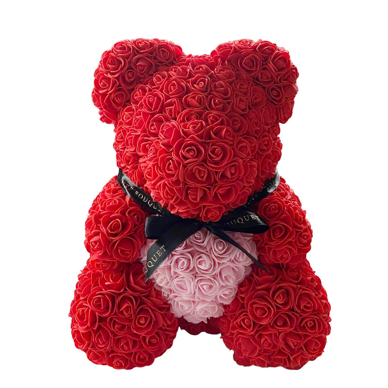 Red Luxe Rose Bear (Pink Heart) - 40cm - Luxe Bouquet roses that last a year