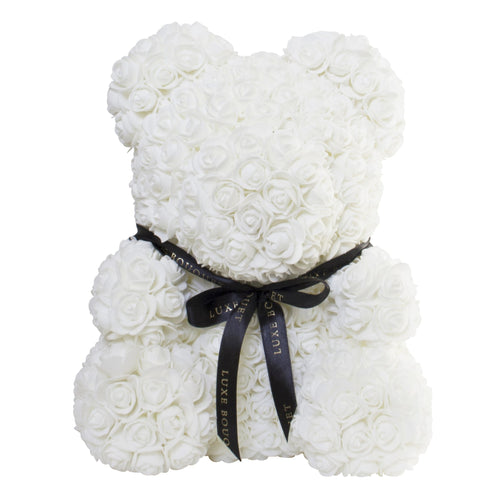White Luxe Rose Bear - 40 cm - Luxe Bouquet roses that last a year