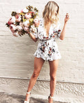 Janet - Sexy V-Neck Floral Playsuit