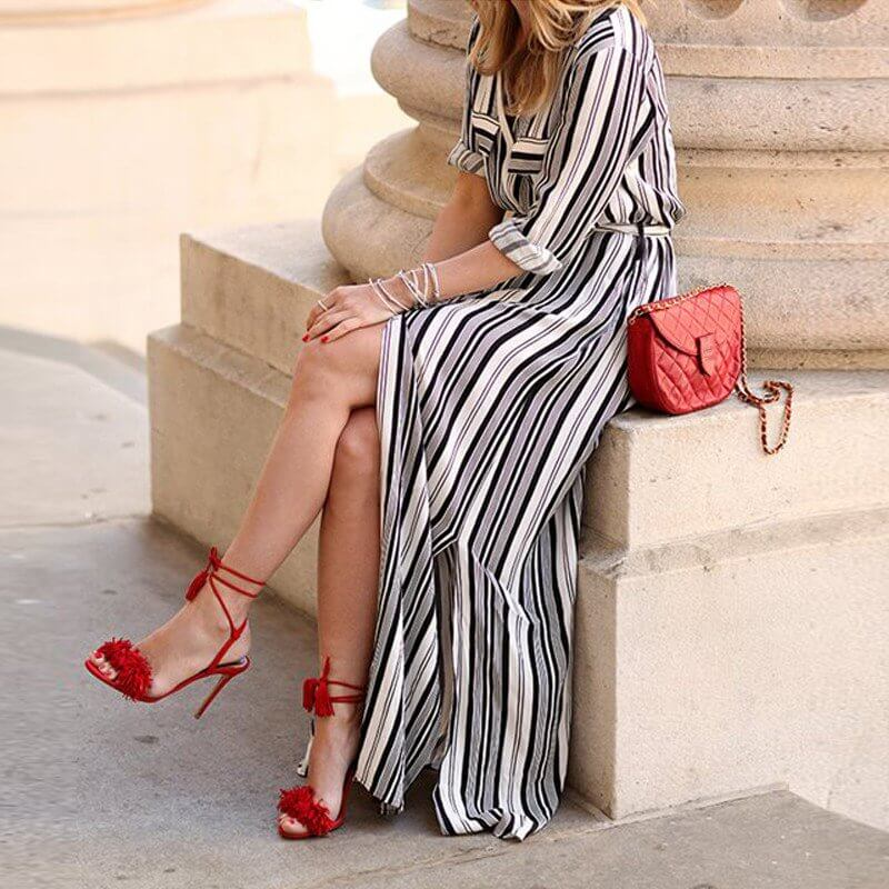 Claire - Elegant Striped Dress