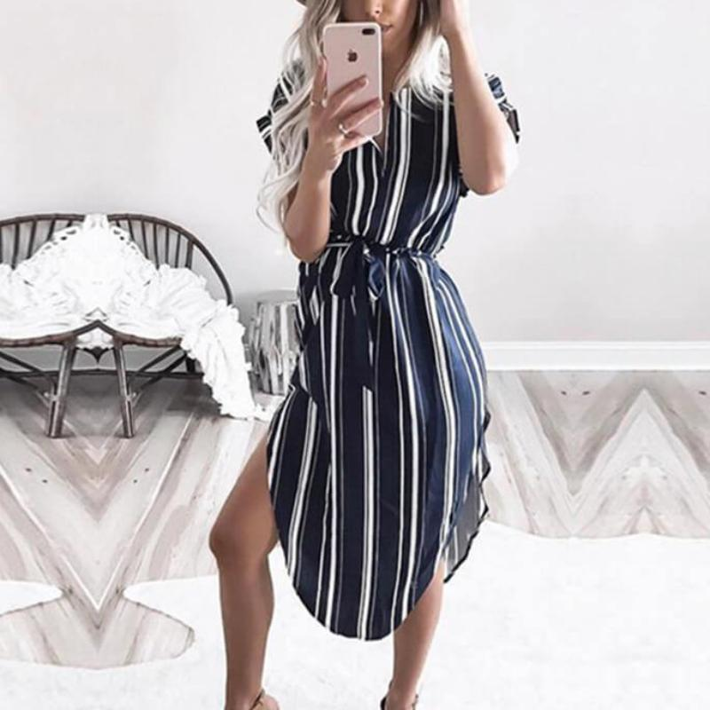 Leah - Striped Vintage Summer Dress