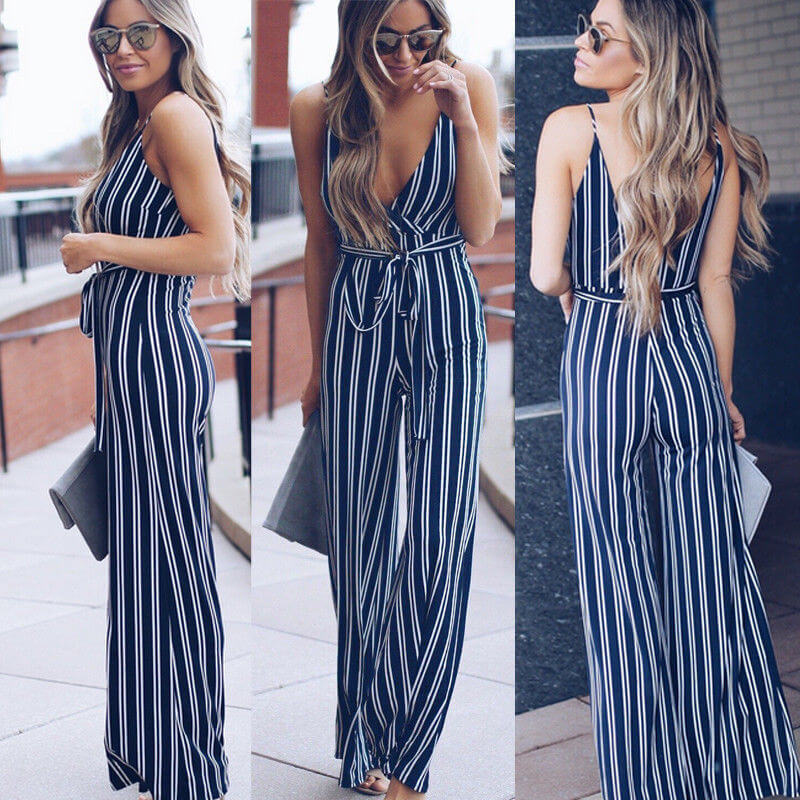 Venus - Elegant Striped Jumpsuit