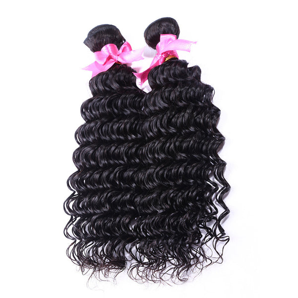 100% Brazilian deep wave 2piece/lot brazilian virgin hair deep wave hot selling brazilian hair weave bundles soft human hair