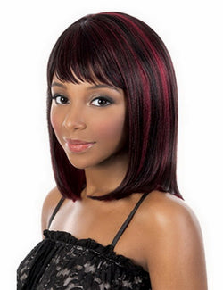 12inch Heat Resistant Synthetic Medium Bob Wigs For Women Natural Straight Black Red Highlights On Hair Free Shipping