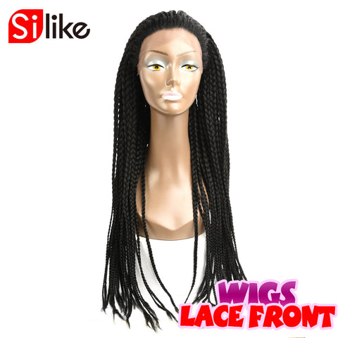 24'' Box Braids Lace Front Wig 350g Synthetic Lace Wigs For African American Afro Box Braiding Wigs For Black Women