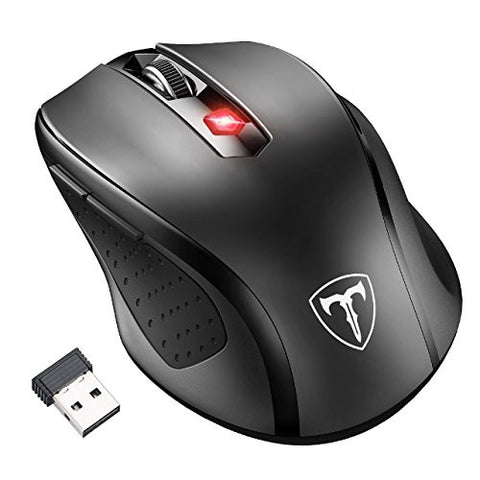 [Updated Version] Wireless Mouse, Patuoxun 2.4G Wireless Optical PC Laptop Computer Mouse with Nano Receiver, 6 Buttons, 2400 DPI 5 Adjustment Levels for Windows Mac Macbook - Super Energey Saving