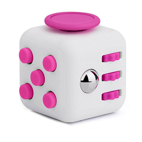 HMILYDYK 6-Sides Fidget Cube Relieves Stress and Anxiety Attention Toy for Children and Adults(Pink and White)