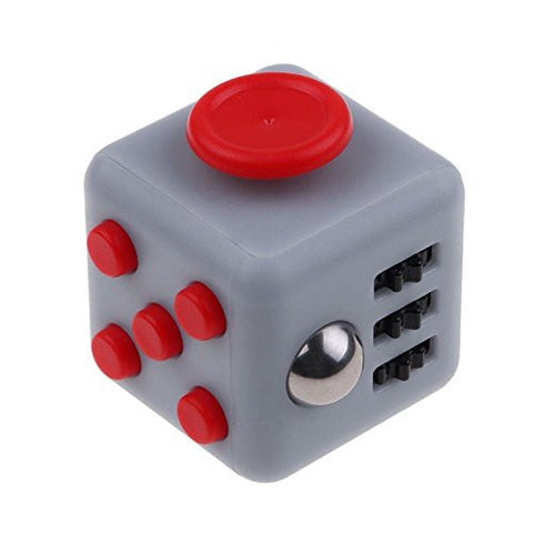 Fidget Cube Relieves Stress And Anxiety, Fidget Toy Fun Cube Anxiety Attention Toy for Children and Adults with ADHD ADD OCD Autism-Grey/Red
