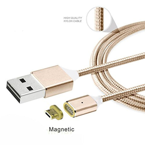Oyedens 2.4 A Micro USB Charging Cable Magnetic Adapter Fast Charger Date Cable for Samsung LG Huawei Android (Gold)