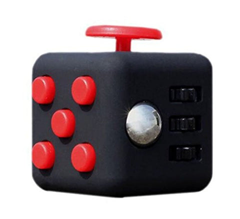 JuYi Fidget Toy Cube Relieves Stress and Anxiety for Children and Adults (Black Red)