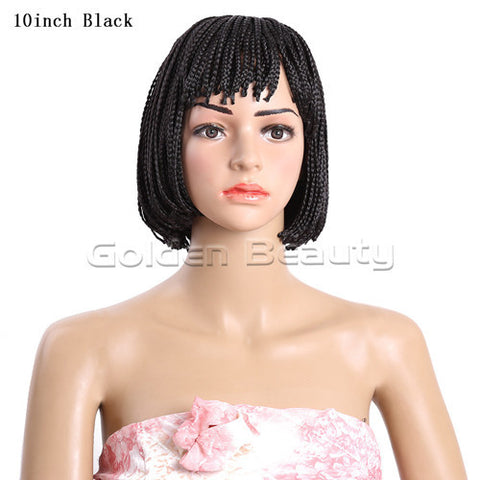 6-12inch Golden Beauty Synthetic Box Braid Wig African American Bob Wigs Short Synthetic Wigs for Black Women