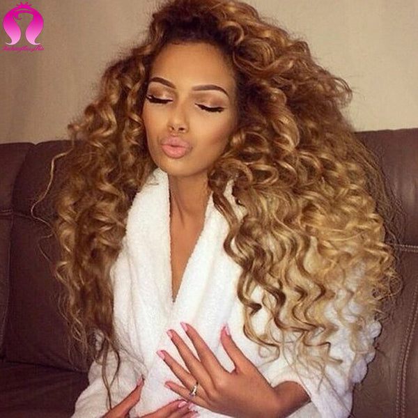8A Honey Blonde Brazilian Deep Wave Curly Virgin Hair 3 Bundles Ombre Loose Deep Wave Brazilian Hair Tissage Bresilienne Curly
