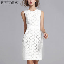 BEFORW Summer Dress Women Sexy Sleeveless Solid Color Slim Large Size Dresses Fashion Casual Plus Size White Lace Mini Dress