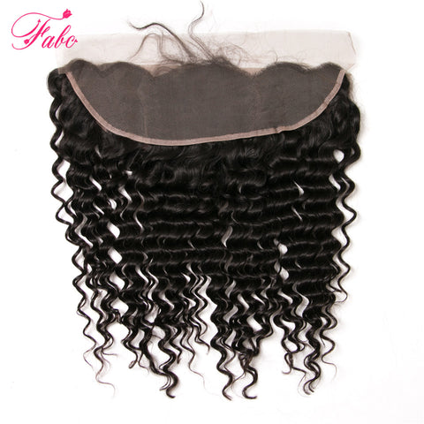 Fabc Hair Brazilian Deep Wave Lace Frontal Ear To Ear 100% Human Hair Closure Free Part Remy Hair Natural Black Free Shipping