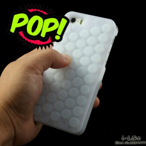 For Apple iPhone SE 5 5s 6 6s Reduce Stress Novelty PoP Sound Bubble Wrap Phone Case Shell for iPhone SE 5s 5 Interesting Gadget