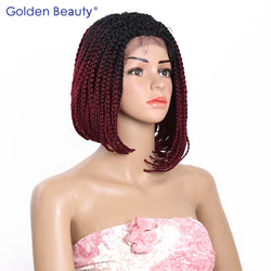 Golden Beauty 14inch Bob Braided Lace Front Wigs Box Braid Wig Synthetic Lace Front Wig Short Braided Wigs for Black Women