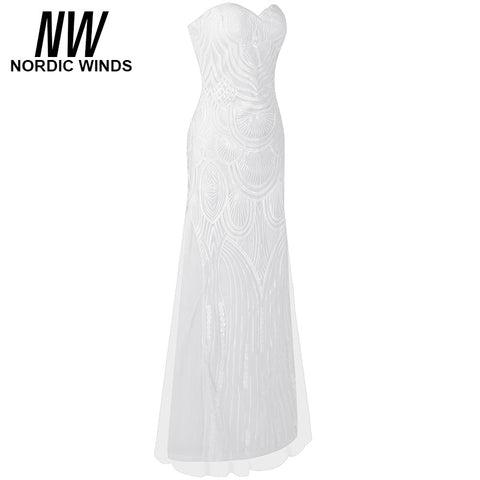 Nordic winds 2017 Spring summer women fashion sleeveless off the shoulder strapless sequined shining a-line party maxi dress ve