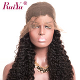 RUIYU Lace Front Human Hair Wigs For Black Women Deep Wave Brazilian Hair Wig With Baby Hair Natural Color Non Remy Lace Wigs