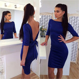 YI-NOKI New Women Backless Sexy Dress Plus Size Bandage Bodycon Dresses Fashion High Waist Casual Club Black Blue Pencil Dress