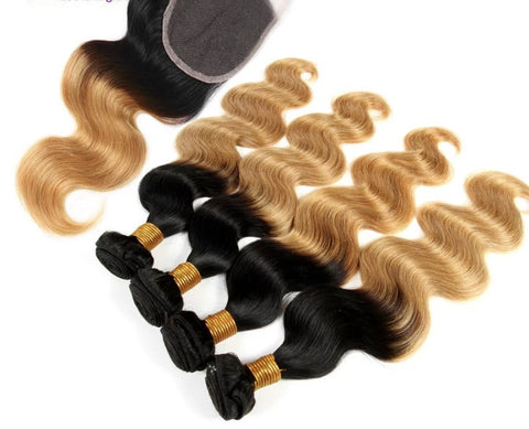 Brazilian wavy ombre 4pcs + closure
